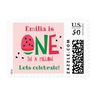 One in a Melon First Birthday Postage