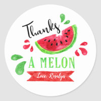 One In A Melon First Birthday Thank You Classic Round Sticker