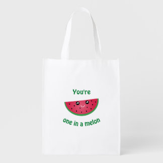 One In A Melon Funny Cute Kawaii Watermelon Grocery Bag