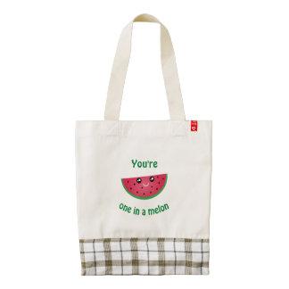 One In A Melon Funny Cute Kawaii Watermelon Zazzle HEART Tote Bag