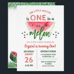 """One in a Melon Glitter Watermelon First Birthday Invitation<br><div class=""""desc"""">One in a Melon Glitter Watermelon First Birthday Invitation</div>"""