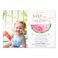 One in a Melon Watermelon Birthday Invitation