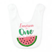 One in a melon, Watermelon First Birthday Bib