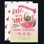 "One in a Melon Watermelon First Birthday Invite<br><div class=""desc"">One in a Melon Watermelon First Birthday Invite</div>"