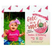 One in a Melon Watermelon First Birthday Invite