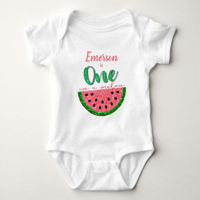 One in a melon, Watermelon onsie, Birthday Shirt