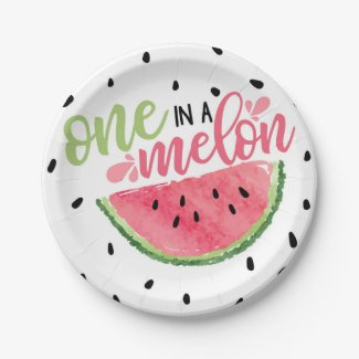 One in A Melon Watermelon Paper Plate