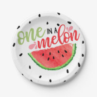 One in A Melon Watermelon Paper Plate - Red