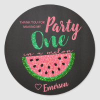 One in a melon, Watermelon Sticker Label Thank You