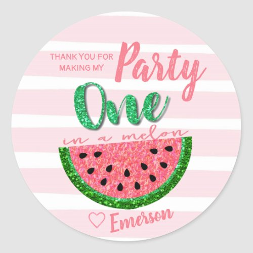 One in a melon Watermelon Sticker Label Thank You