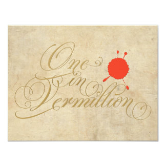 One in Vermillion Art Humor Funny Invitation
