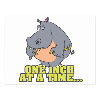 one inch at a time diet hippo humor postcard
