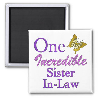 One Incredible Sister-In-Law 2 Inch Square Magnet