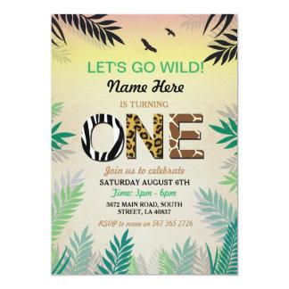 Safari 1st Birthday Invitations Announcements Zazzle