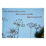 One Kind Word in Winter - Japanese Proverb Poster