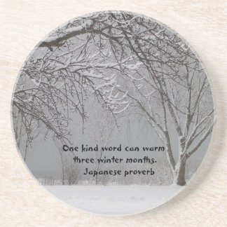 One kind word-Japanese Proverb Drink Coaster