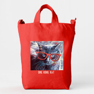 one kool kat- hipster cat in red glasses! duck bag