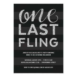 One Last Fling | Glitter-Look Bachelorette Party Card