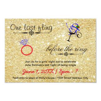 One Last Fling / Gold -3x5 Bachelorette Invitation