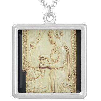 One leaf of the Symmachi Diptych Silver Plated Necklace