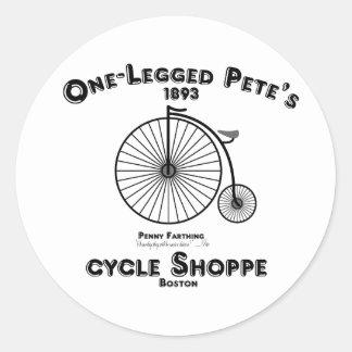 One Legged Pete's Cycle Shoppe, Boston. Classic Round Sticker