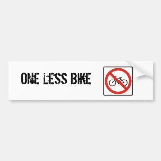One Less Bike Bumper Sticker