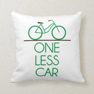 One Less Car Earth Friendly Bicycle Throw Pillow