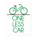 One Less Car Earth Friendly Bicycle Post Cards