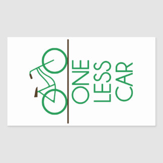 One Less Car Earth Friendly Bicycle Rectangular Sticker