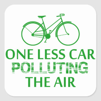 One Less Car Polluting the Air Square Sticker