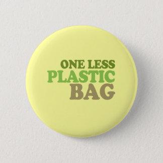 One less plastic bag pinback button
