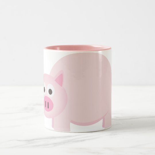 One Little Pig in Pink Two-Tone Coffee Mug