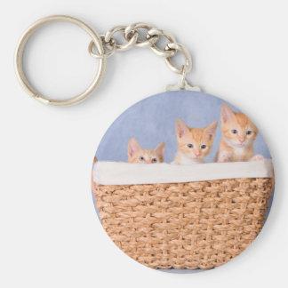 One little, two little, three little kittens basic round button keychain