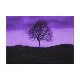 One Lone Tree Pop Art Purple Landscape Canvas