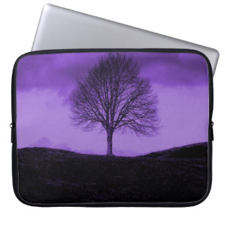 One Lone Tree Silhouette Purple Nature Landscape Laptop Sleeve
