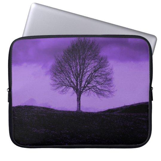 One Lone Tree Silhouette Purple Nature Landscape Laptop Sleeve