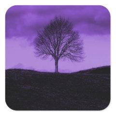 One Lone Tree Silhouette Purple Nature Landscape Stickers
