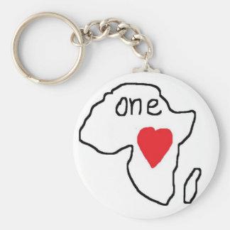 One Love Africa Basic Round Button Keychain