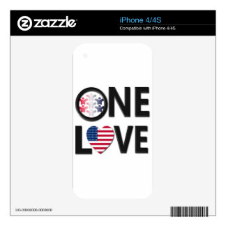 One Love American Colors Skins For iPhone 4