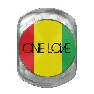 """One Love"" design Glass Candy Jar"