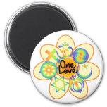 One Love Flower 2 Inch Round Magnet