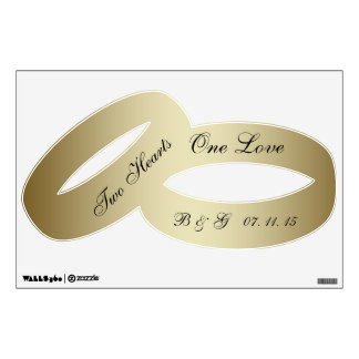 One Love Initials Gold Wedding Rings Wall Decal