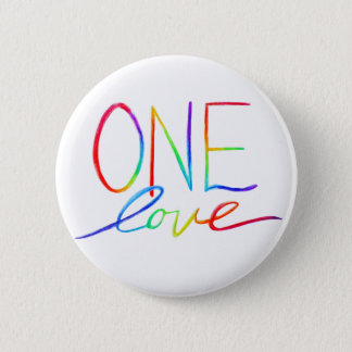 One Love Inspirational Rainbow Words Pin Buttons