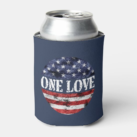One Love July 4th Beverage Can Cooler