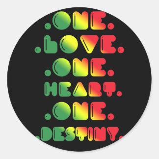 ONE LOVE, ONE HEART, ONE DESTINY. ROUND STICKERS