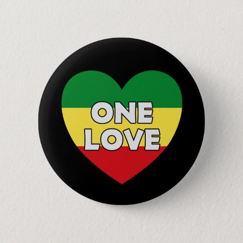 One Love Rasta Reggae Button