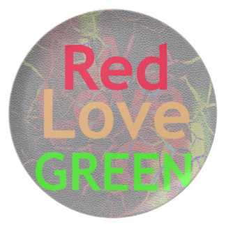 ONE LOVE RED GOLDEN GREEN DINNER PLATE