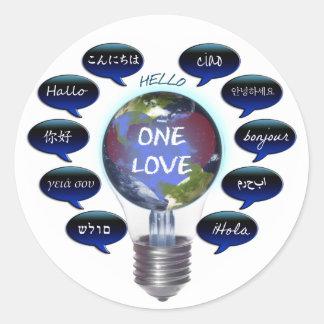 One Love Round Stickers