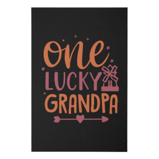 One Lucky Grandpa Faux Canvas Print