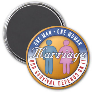 One Man... One Woman 3 Inch Round Magnet